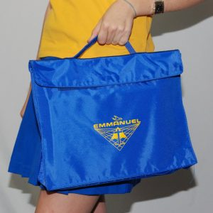 Emmanuel Homework Bag - Royal + Gold Logo